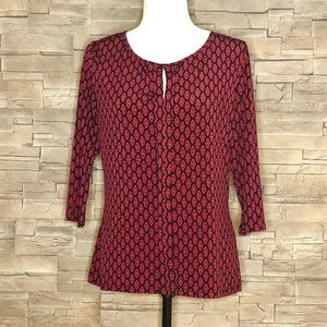 Tops - Black and red motif top, size M